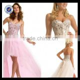 C0027 Long tail cocktail dress bling bling lace up back cocktail dress