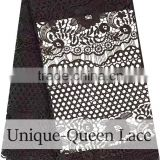 2016 African cord lace fabric /nigerian guiure lace black swiss guipure voile lace /black cord lace