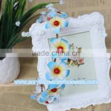 popular Light Blue artificial flower hair wreath for wedding &bridal hair crown decoration