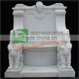 Hand Carved White Marble Chair, Sphinx Statue Carved Chair