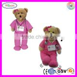 D817 Pink and Blue Shaking Singing Teddy Bear Stuffed Toy Plush Doctor Bears with Suit