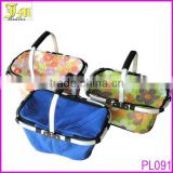 Outdoor Folding Cooler Insulated Picnic Baskets With Handle Aluminum Frame Foldable Shopping Basket
