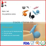 Funny FDA Food grade Snail Shape Clip Silicone Tea Cup Tea Bag Holder/Glass Cup Markers in stock