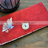 2017 wholesale pure Handmade felt card wallet keeper with Embroidered flower made in China