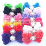 fashion baby&ladies cloth roll flower pearl center fabric butterfly cheap hair bows