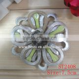 In stock handmade crystal center silver stripes leather flower for shoes decoration