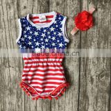 baby girls Summer clothes infant striped romper navy tutu cotton baby all star romper girls July 4th cotton match headband
