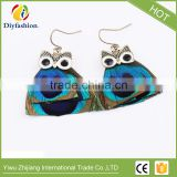 Hot fashion animal jewelry Peacock feathers owl earrings
