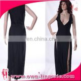 China v neck very sexy sleeveless black long evening dress gown