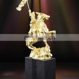horse jumping bronze equestrian trophy with horse and rider