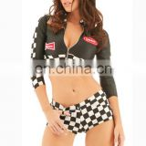 Sexy adult racer girl costume sleeve top and checked shorts clubwear racing girl costumes for women