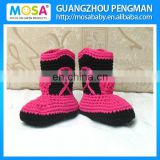 Crochet Newborn Baby Girl Ankle Boots Cowgirl Winter Knitted Boots Hot and Black