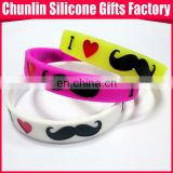 Most Popular Silicone Mustache Bracelet With Debossed Logo