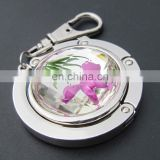 Fation flower design rhinestone folding purse hanger,crystal folding purse hooks with key finder