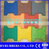 Recycled rubber crumb rubber tile dog bone rubber Tile For Driveway