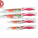 (DCK-033) Heat Transfer Printed Flower on Ceramic Coated Stainless Steel Knife Set