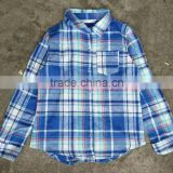 TF-160623006 flannel overstock clearance children plaid shirts girl long sleeves top shirts end of lines kids shirt for 6-10 yrs