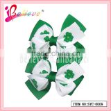 Handmade ribbon bow hair accessories green clover ribbon fashion hair net clip (SYC-0009)