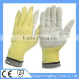 Wholesale Seamless Knitted Aramid Cow Leather Coated Heat Resistant Work Gloves With Good Quality