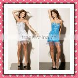 2012 New Arrival Stylish Gorgeous Sheath Sequins Beaded Embellished Royal Blue Cocktail Dress MLC-127