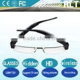 HD 1280 * 720wireless invisible hidden glasses camera black light oil piano lacquer material