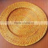 Gold bamboo charger plates for sale
