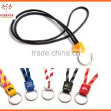 2016 New Design Cheap Promotional Custom Elastic Cord Lanyard With Keyring With Printed Logo Advertising PU Zhejiang Supplier