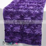 Satin rosette table cloth table runner for wedding banquet                                                                         Quality Choice