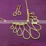 Water-Drop Stylish Design Brown Rhinestone Necklaces Set Indian bridal diamond jewelry set
