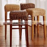 Indoor Interior Wicker Rattan Furniture Dining Set - Bar Stool ( Hand woven by wicker,hyacinth & wooden frame)