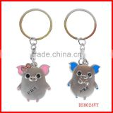 2014 new style zinc alloy love pairing pig keychain