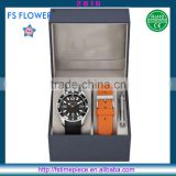 FS FLOWER - Fashion Men Watch Set 2 Band Silicone Pu Leather Strap With Watch Tool And Box