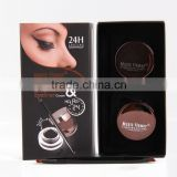 MusicFlower 2 in 1 Brown+Black Eyebrow Extension Kit Brow Powder Eyeliner Cream 24hours Long Lasting Waterproof Eye Liner