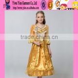 2015 fashion golden color long style cosplay baby dress new arrived hot sale Princess girl angel dresses for kids