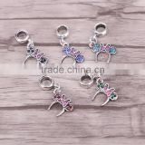 European silver Butterfly hanging pendant dangle bead charm Fits Charm Bracelets