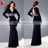 Gorgeous beaded shinning belt V-neck spandex cotton kaftans evening dress for long sleeve