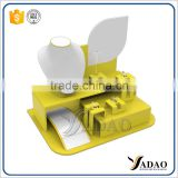 Wholesale manufacturer of jewellery exhibitor props for shop counter showcase white and yellow acrylic jewelry display rack