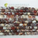 New arrival Gemstone loose beads Fire agate barrel shape beads16""
