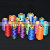 Popular dyed polyester spun yarn for weaving thread 102 raw white polyester yarn thread 100% spun polyester thread for sewing