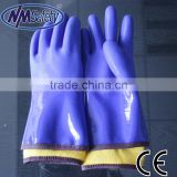 NMSAFETY thermal PVC glove EN388 3121 seamless cotton liner coated blue PVC glove for winter use