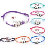 couple love style handcuffs charm bracelets diy suede leather woven handcuffs bracelets for promotional products