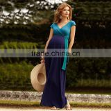 Hot selling designer blue maxi dress maternity dresses for 6 months pregnant woman
