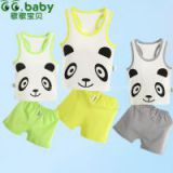 2015Hot 100%Cotton Summer Baby Sets Fashion Animal Panda Newborn Baby Girl Boy Clothes Set Romper Infant Suits Babies