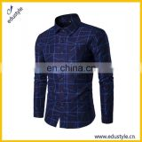 Personalized Cotton Polyester Blue Mens Shirts Casual