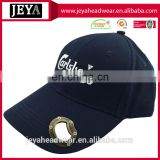 Wholesale beer opener bill Navy blue baseball cap promotion Brand beer factory letters embroidered baseball cap