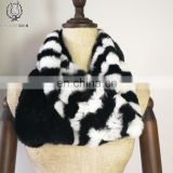 Vintage Rex Rabbit Fur Shawl Trend Rabbit Fur Knitting Scarf Good Quality Knitted Rabbit Fur Muffler