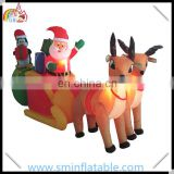 Christmas air blown inflatable led lighting santa claus with penguin on reindeer sleigh for yard decoration