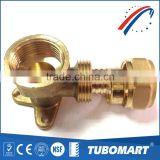 Tubomart supplier Brass Stainless steel female wall elbow for water gas pipe and fitting DZR