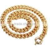 10mm Heavy Mens Chain Boys Curb Cuban Link Yellow Gold Plated Necklace Sailor Clasp18-36inch