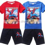 2015 New Summer Boys spiderman Clothing set Children spiderman Suits Baby Printed T-shirt + Pants Kids Short Sleeve Clothes